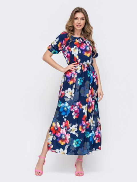Платье-макси в цветочным принтом темно-синее 46955, фото 1