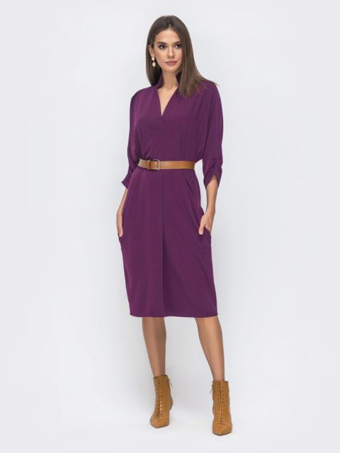 """Платье с рукавом """"летучая мышь"""" и V-вырезом фиолетовое 40455, фото 1"""