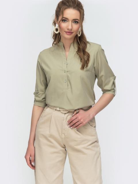 Зеленая блузка свободного кроя из софта на пуговицах 46902, фото 1