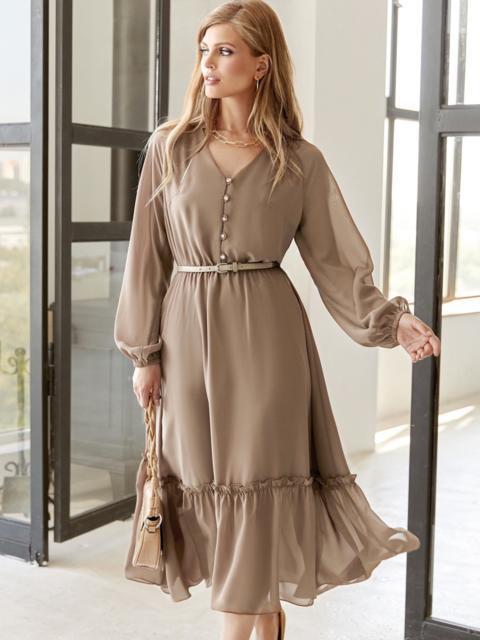Бежевое платье из шифона с V-образным вырезом 54506, фото 1