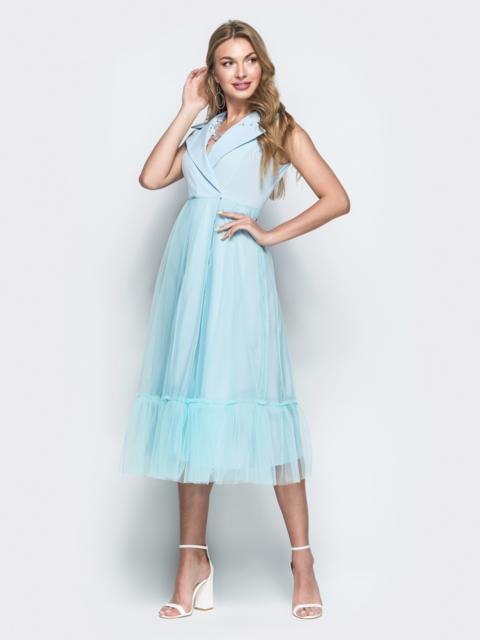 Голубое платье с завышенной талией и лацканами 38471, фото 1