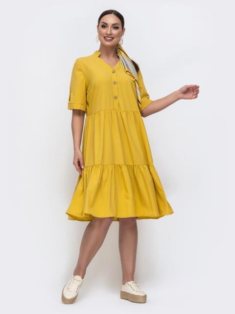 Расклешенное платье батал на пуговицах желтое 46330, фото 1
