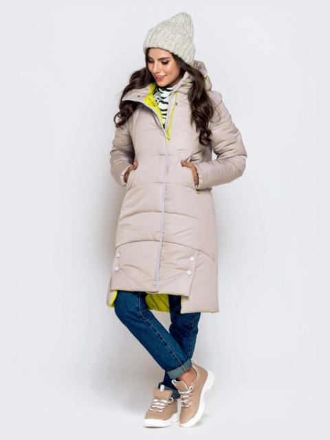 Зимняя куртка бежевого цвета с капюшоном на кулиске 40141, фото 1