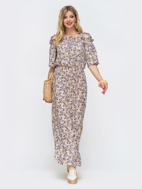 Платье-макси с принтом и напуском по талии бежевое 46833, фото 1