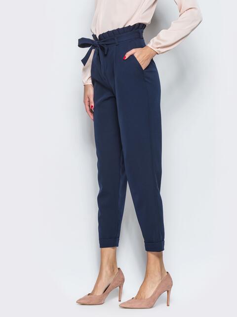 Тёмно-синие брюки с рюшей на поясе 12763, фото 1