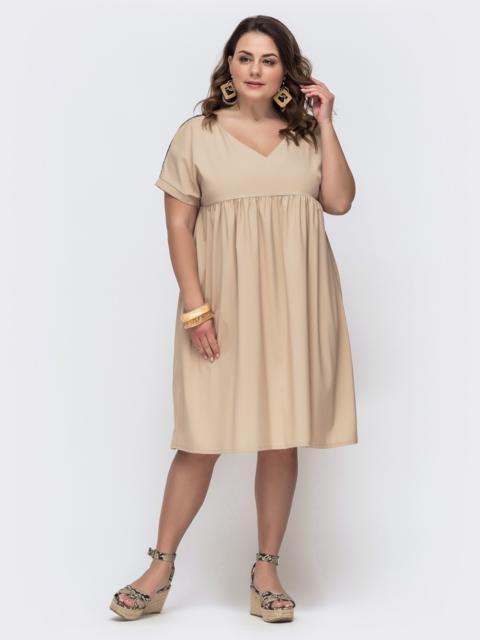 Платье батал с завышенной талией бежевого цвета 46152, фото 1