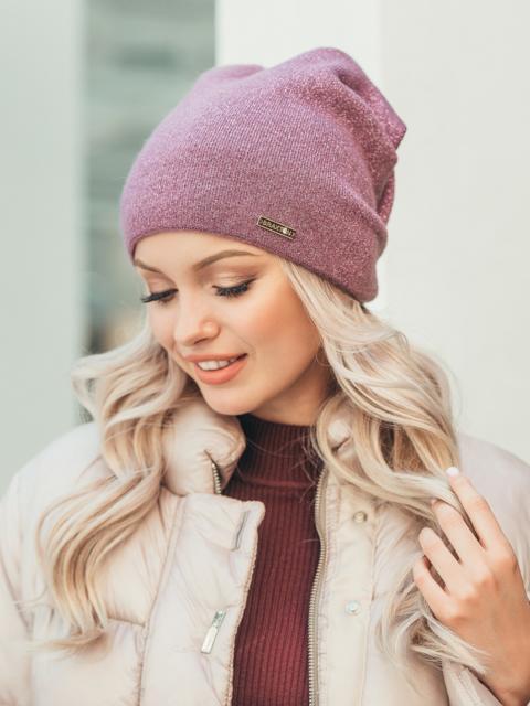 Розовая демисезонная шапка с нитью люрекса 50529, фото 1