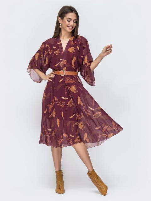 Шифоновое платье с принтом и трикотажной подкладкой бордовое 45049, фото 1
