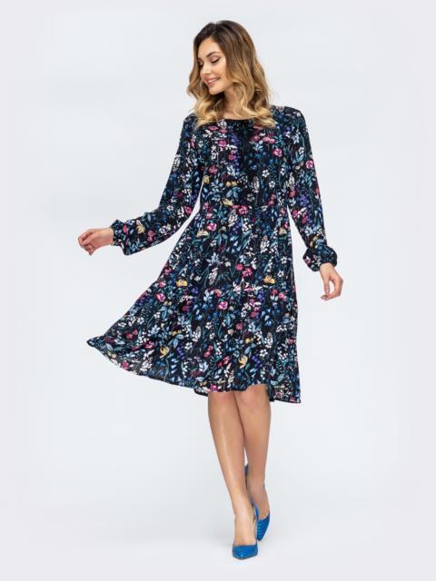 Тёмно-синее платье с флористическим принтом 44929, фото 1