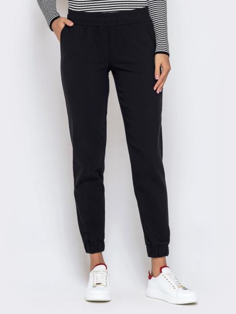 Укороченные брюки-джоггеры чёрного цвета 40558, фото 1