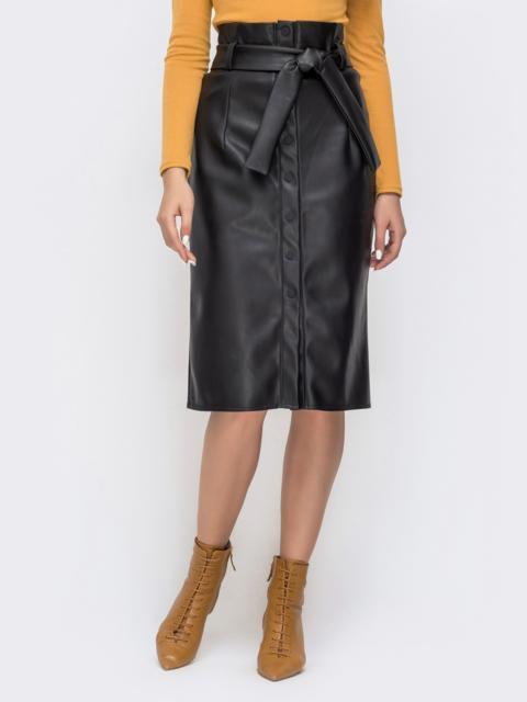 Чёрная юбка из искусственной кожи на пуговицах 41502, фото 1