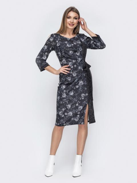 Комбинированное платье графитового цвета 45771, фото 1