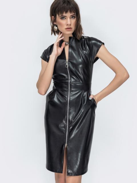 Платье на молнии со вшитым поясом чёрное 45046, фото 1