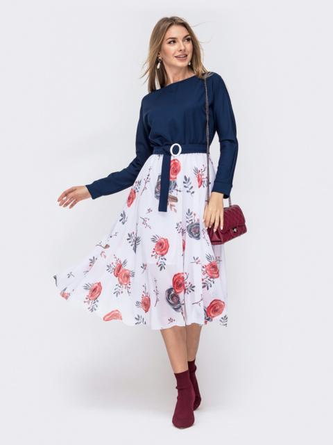 Платье с напуском по талии и принтованной юбкой тёмно-синее 41386, фото 1