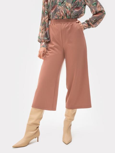 Пудровые брюки-кюлоты из джерси с завышенной талией 51269, фото 1