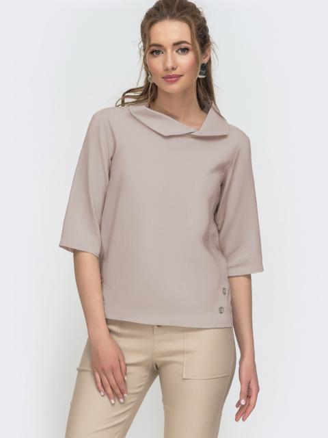 Бежевая блузка прямого кроя из льна 49807, фото 1