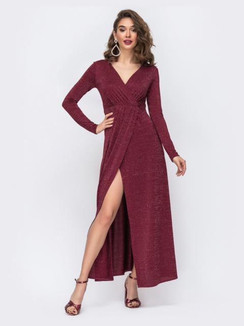 Платье-макси из люрекса с разрезом сбоку бордовое 42791, фото 1