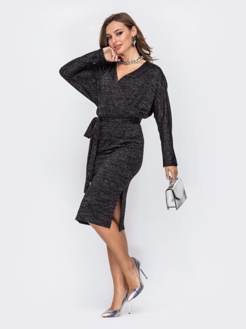 Платье с нитью люрекса и вырезом по спинке черное 52068, фото 1