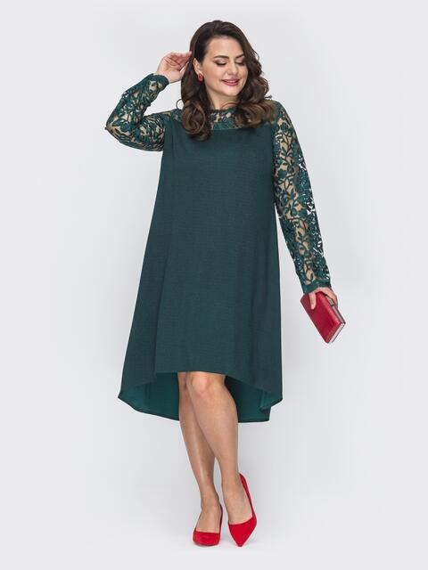Зеленое платье-трапеция большого размера со шлейфом 52072, фото 1