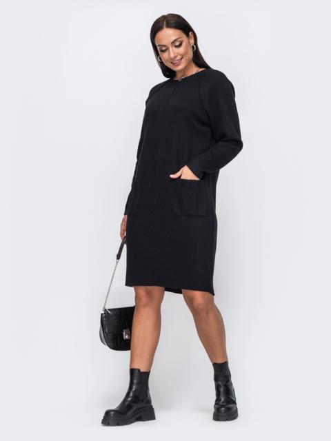 Черное платье батал с рельефной прострочкой и карманами 51327, фото 1