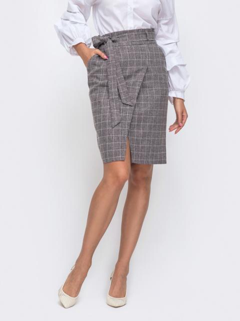 Серая юбка-карандаш в клетку с поясом 50606, фото 1