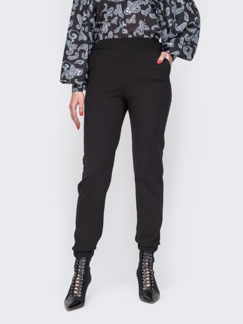 Зауженные брюки-джоггеры с резинкой по низу черные 51960, фото 1