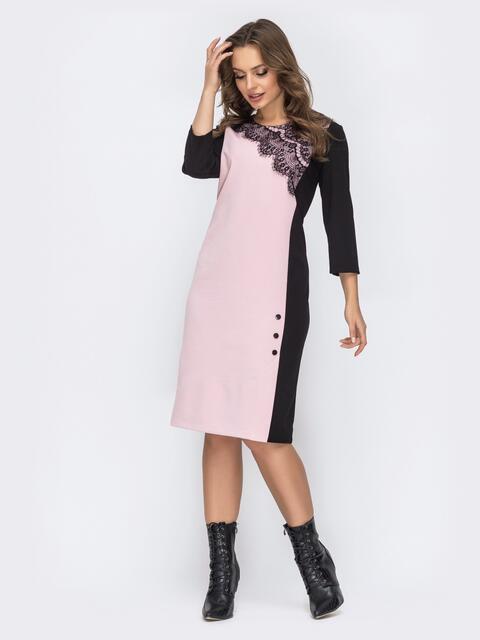 Чёрное платье прямого кроя с контрастной вставкой 44135, фото 1