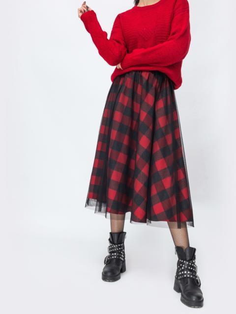 Двухслойная юбка-солнце красного цвета в клетку 44171, фото 1