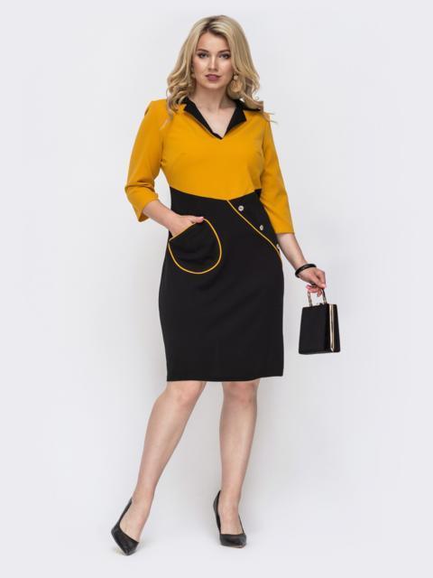 Приталенное платье батал желтое 49969, фото 1