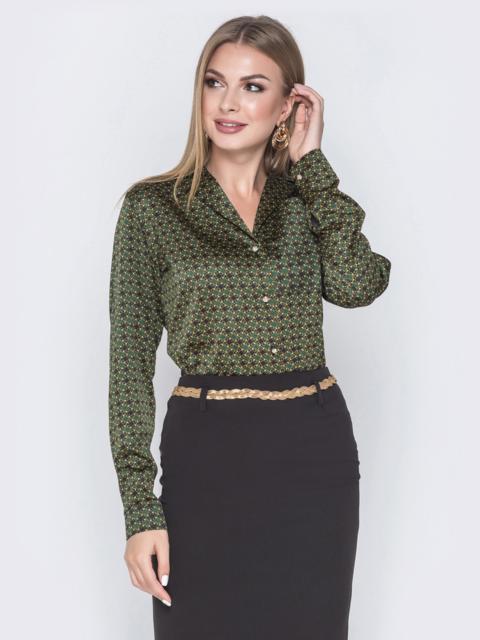 Шелковая рубашка зеленого цвета с принтом 40254, фото 1