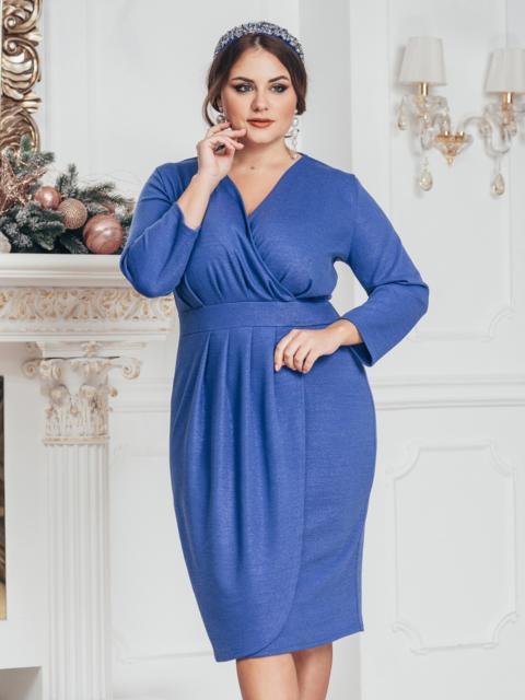 Синее платье большого размера с нитью люрекса 43850, фото 1