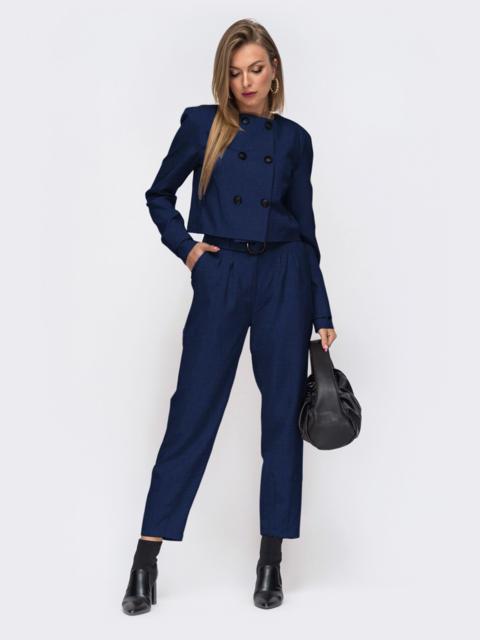 Темно-синий брючный костюм с укороченным жакетом 53527, фото 1