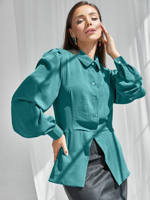 Бирюзовый костюм из блузки с баской и юбки 50058, фото 1