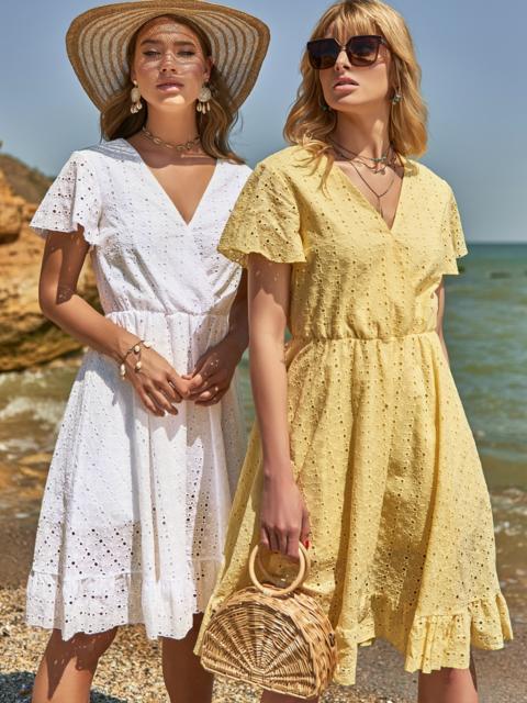 Желтое платье из прошвы с резинкой по талии 48228, фото 1