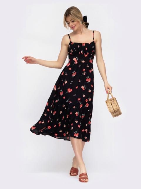 Чёрное платье с цветочным принтом на узких регулируемых бретелях 48045, фото 1