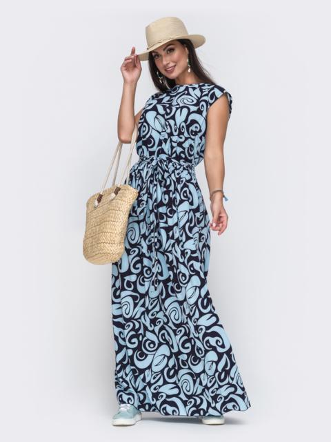 Голубое платье батал свободного кроя с принтом 49717, фото 1