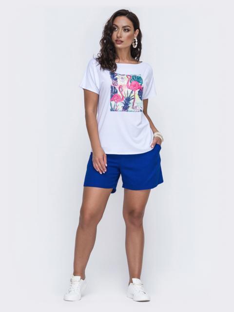 Летний комплект с шортами большого размера синий 49933, фото 1
