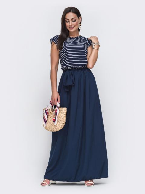 Тёмно-синее платье батал в пол с лифом в полоску 49714, фото 1