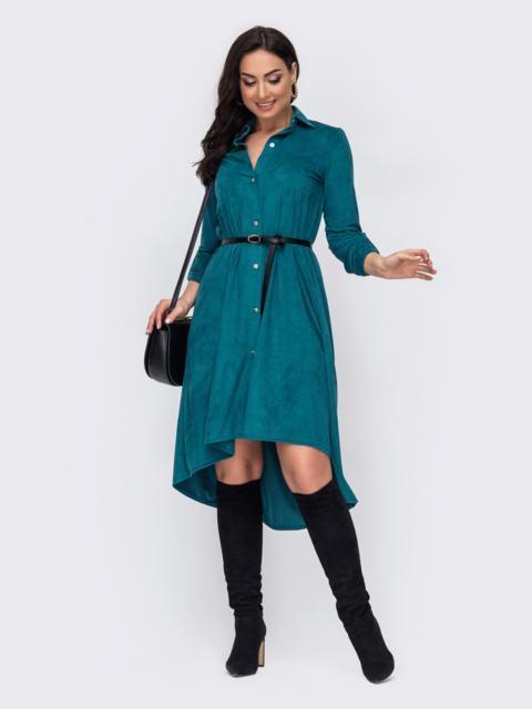 Бирюзовое платье-рубашка большого размера с удлиненной спинкой 52743, фото 1