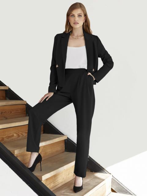 Брючный костюм с укороченным пиджаком черный 55059, фото 1
