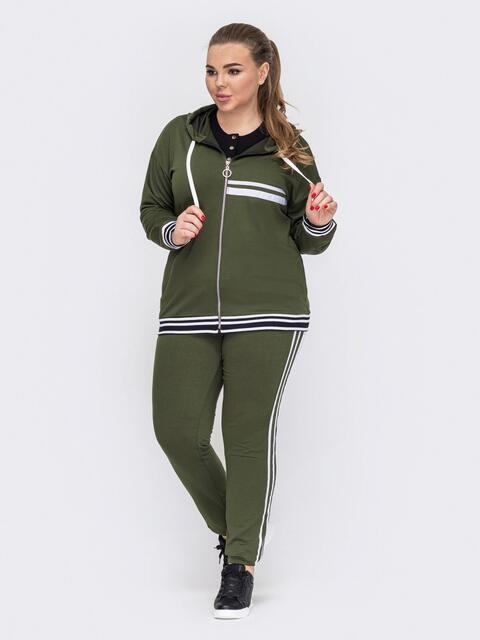 Спортивный костюм цвета хаки большого размера 53227, фото 1