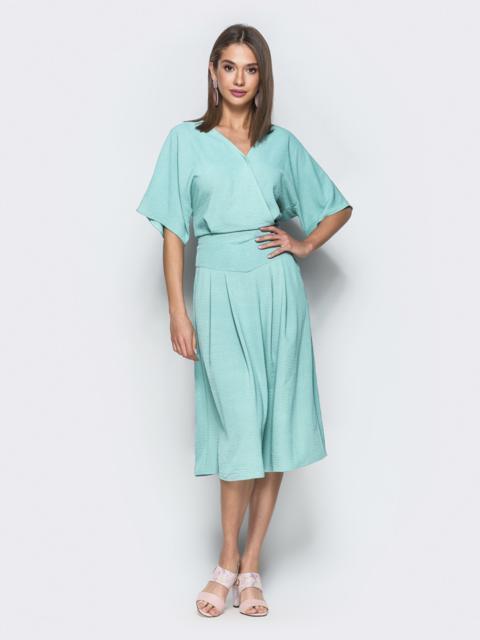 Мятное платье с лифом на запах и карманами 39524, фото 1