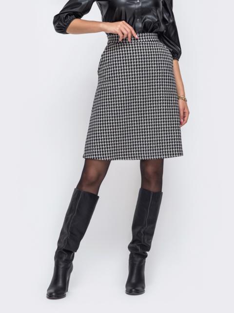 Серая юбка-трапеция из жаккарда с узором «гусиная лапка» 50347, фото 1