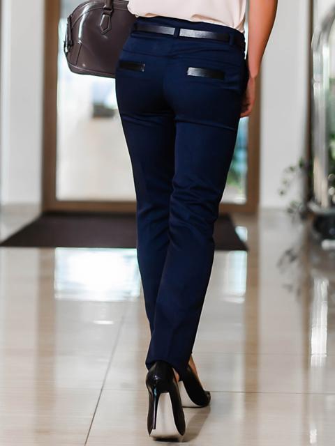 Тёмно-синие брюки со шлёвками для пояса 10297, фото 1