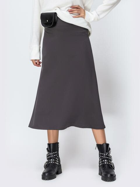 Атласная юбка-трапеция серого цвета 42473, фото 1