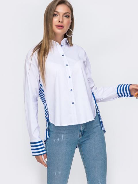 Белая рубашка с удлиненной спинкой в полоску 49466, фото 1