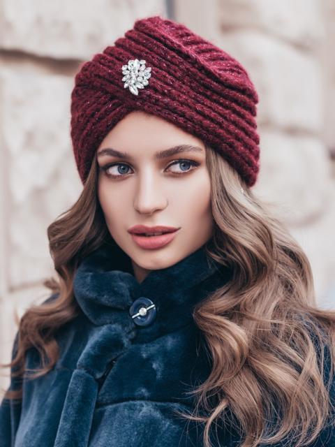 Бордовая шапка-чалма крупной вязки 40360, фото 1