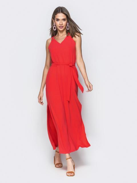 Красное платье-макси с разрезами по бокам 38948, фото 1