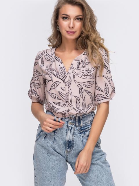 Пудровая блузка свободного кроя с принтом 48414, фото 1