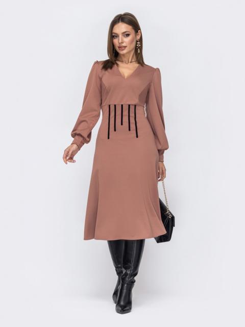 Пудровое платье с V-образным вырезом и юбкой-трапеция 52339, фото 1